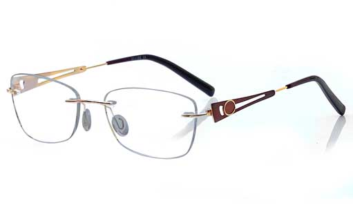 Golden with Brown Rimless frame
