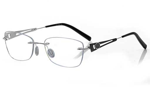 Silver with Black Rimless frame