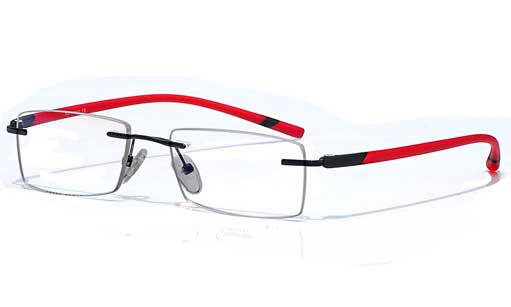 Red semi transparent Rimless eyeglasses