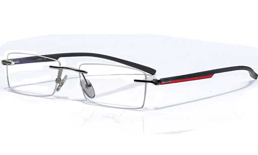 Black with red designer Rimless eyeglasses