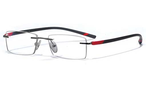Black with red touch Rimless eyeglasses