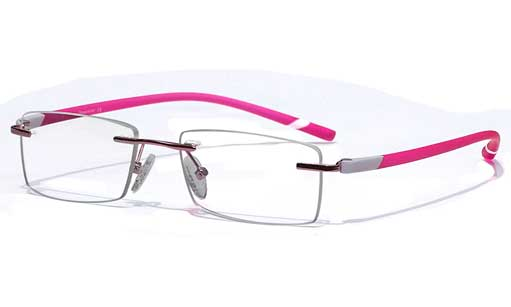 Pink with white touch Rimless eyeglasses