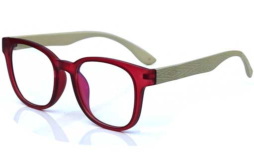 Red and Off White Square eyeglass